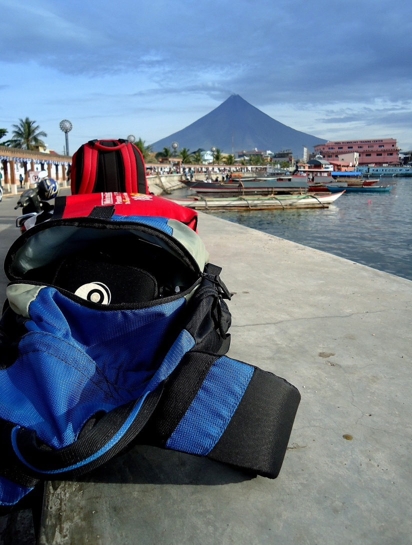 Legazpi City port area, with majestic Mt. Mayon in the background