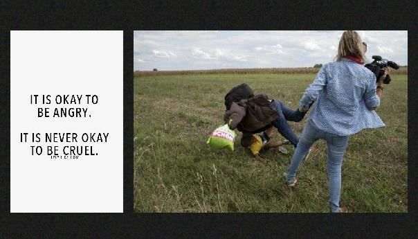 Hungarian camera woman trips migrants via The Atlantic